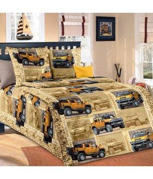Постельное белье бязь Сафари 1 желтое - 1,5 спальное, 1100А
