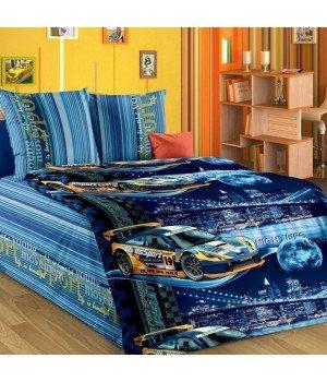 Постельное белье бязь Неон 1 синее - 1,5 спальное, 1130А