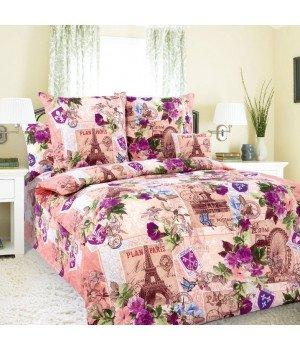 Постельное белье бязь Париж 1 розовое - 1,5 спальное, 1100А
