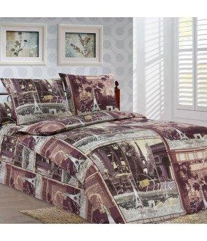 Постельное белье бязь Парижские тайны 2 коричневое - 1,5 спальное, 1100А
