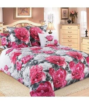 Постельное белье бязь Пионы 1 розовое - 2 спальное с европростыней, 3100Б
