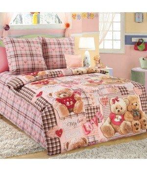 Постельное белье бязь Плюшевые мишки 1 розовое - 1,5 спальное, 1130А