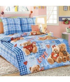 Постельное белье бязь Плюшевые мишки 2 синее - 1,5 спальное, 1130А