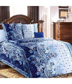 Постельное белье бязь Очертание 1 синее - 1,5 спальное, 1100А
