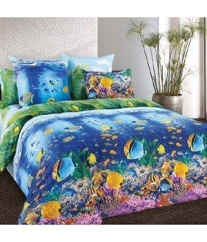 Постельное белье бязь Подводный мир - 2 спальное с европростыней, 3100Б