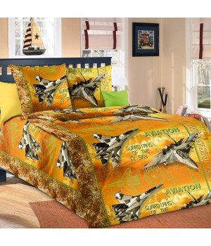 Постельное белье бязь Стражи неба 1 оранжевое - 1,5 спальное, 1100А
