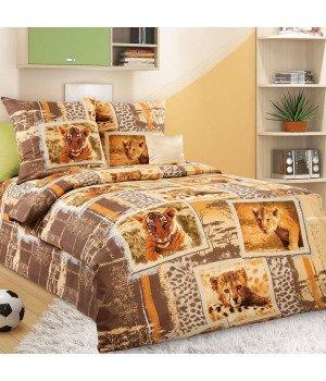 Постельное белье бязь Зов джунглей 1 коричневое - 1,5 спальное, 1100А