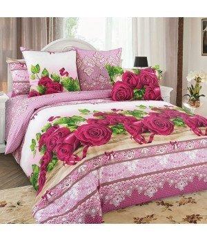 Постельное белье бязь Розы 3 сиреневое - 2 спальное, 2100Б
