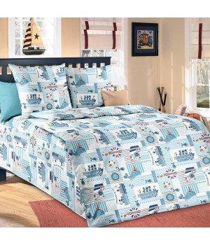 Постельное белье бязь Кораблики - 1,5 спальное, 1100А
