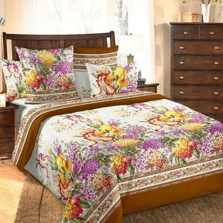 Постельное белье бязь Шарлотта 2 коричневое - 2 спальное с европростыней, 3100Б