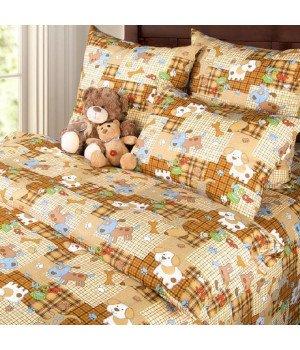Постельное белье бязь Тузик 1 коричневое - 1,5 спальное, 1100А