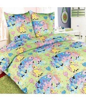 Постельное белье бязь Чудо-пони зеленое - 1,5 спальное, 1100А