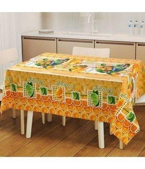 Набор для кухни Мандаринки: скатерть рогожка с мво 145х120 + 2 полотенца 47х70