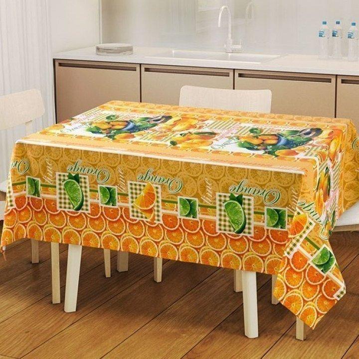 Набор для кухни Мандаринки: скатерть рогожка с мво 145х150 + 2 полотенца 47х70