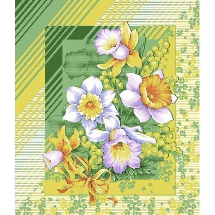 Полотенце вафельное Утренние цветы 50х60