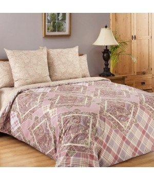 Постельное белье перкаль Итальянка 1 розовое с компаньоном - 1,5 спальное, 1250П
