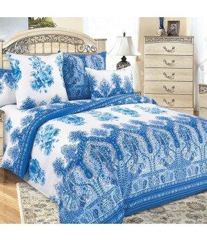 Постельное белье перкаль Гжель 1 синее - 2 спальное с европростыней, 3200П