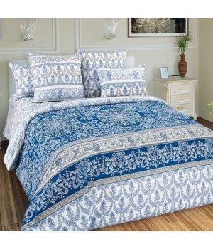 Постельное белье перкаль Глория 1 синее с компаньоном - 2 спальное, 2250П