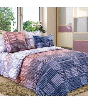 Постельное белье перкаль Доминик 1 фиолетовое - 2 спальное с европростыней, 3200П