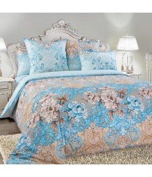 Постельное белье перкаль Вивьен 1 голубое с компаньоном - 1,5 спальное, 1250П