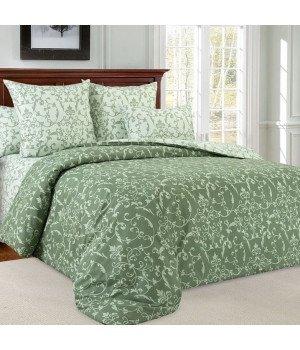 Постельное белье перкаль Вирджиния 6 зеленое с компаньоном - 2 спальное с европростыней, 3250П
