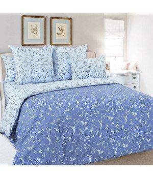 Постельное белье перкаль Габриэль 4 голубое с компаньоном - 2 спальное с европростыней, 3250П