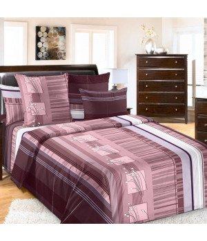 Постельное белье перкаль Сандра 3 коричневое - 2 спальное с европростыней, 3220П