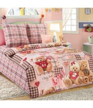Постельное белье перкаль Плюшевые мишки 1 розовое - 1,5 спальное, 1100М