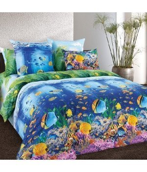Постельное белье перкаль Подводный мир 1 - 2 спальное, 2200П