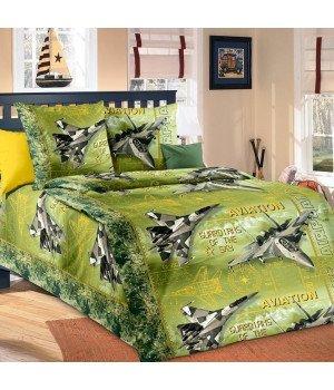 Постельное белье перкаль Стражи неба 2 зеленое - 1,5 спальное, 1100М