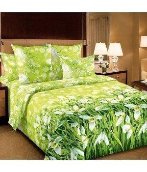 Постельное белье перкаль Подснежники 1 зеленое с компаньоном - 2 спальное, 2250П