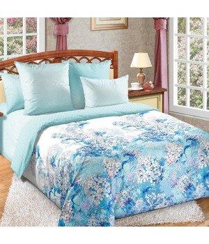 Постельное белье перкаль Цветочный бриз 1 голубое с компаньоном - Семейное, 6250П