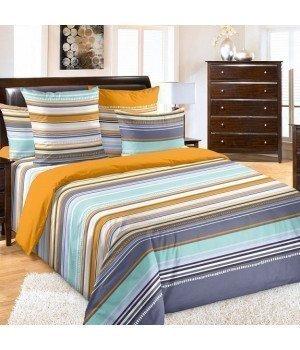 Постельное белье перкаль Дакота 1 оранжевое - 2 спальное с европростыней, 3200П