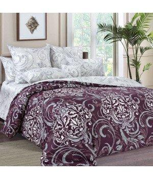 Постельное белье Сатин Гранд 1 фиолетовое - 2 спальное с европростыней, 3140Н