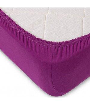 Простынь трикотажная на резинке Фиолетовая 90х200
