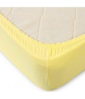 Простынь трикотажная на резинке Желтая 60х120