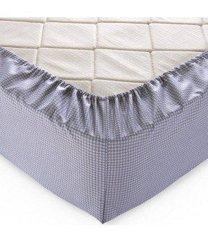 Простыня на резинке перкаль Текстура 14 серая 200х200х25
